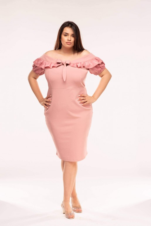 BODYCON DRESS WITH ASYM SLEEVES