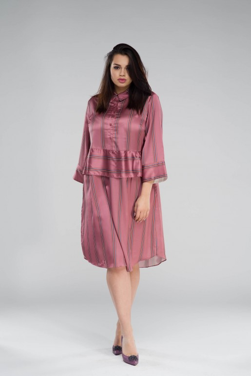 SHIRT DRESS IN SATIN STRIPE