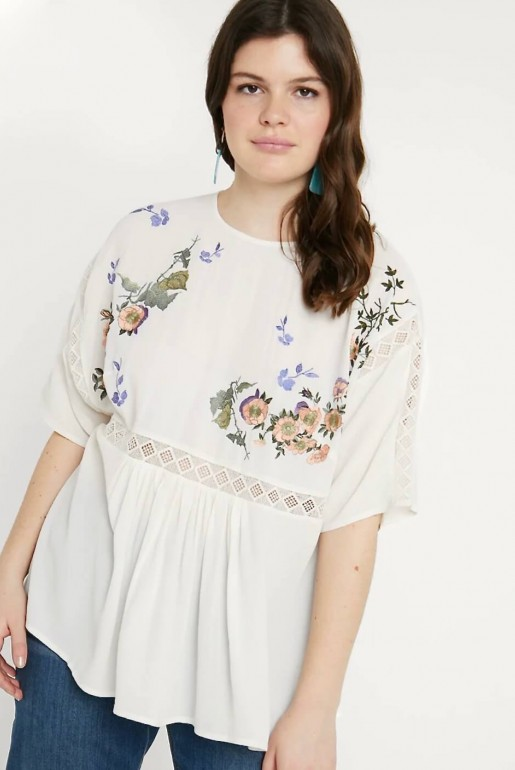 SMOCK TOP WITH BLOSSOM EMBROIDERY - Image 1