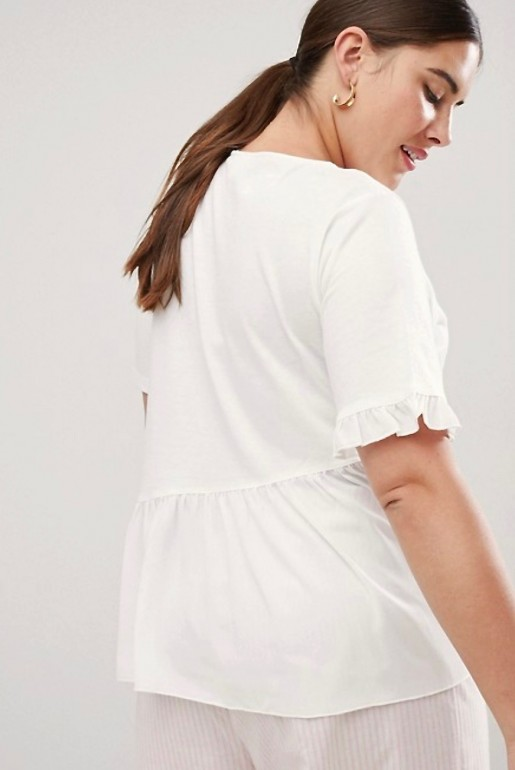 T-SHIRT WITH WOVEN FRILL HEM - Image 4