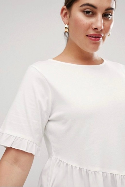 T-SHIRT WITH WOVEN FRILL HEM - Image 3
