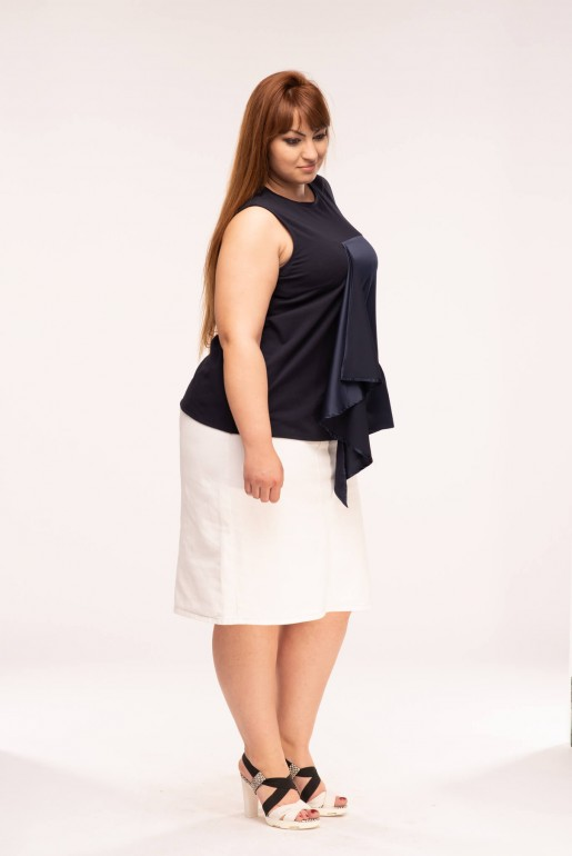 SLEEVELESS T-SHIRT WITH SATIN FRILL