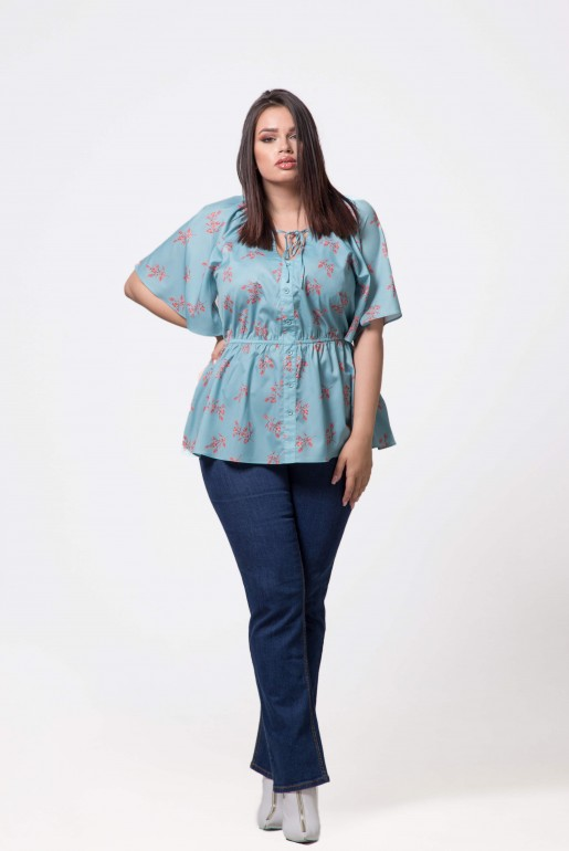 BLOUSE IN BLUES DITSY PRINT - Image 1