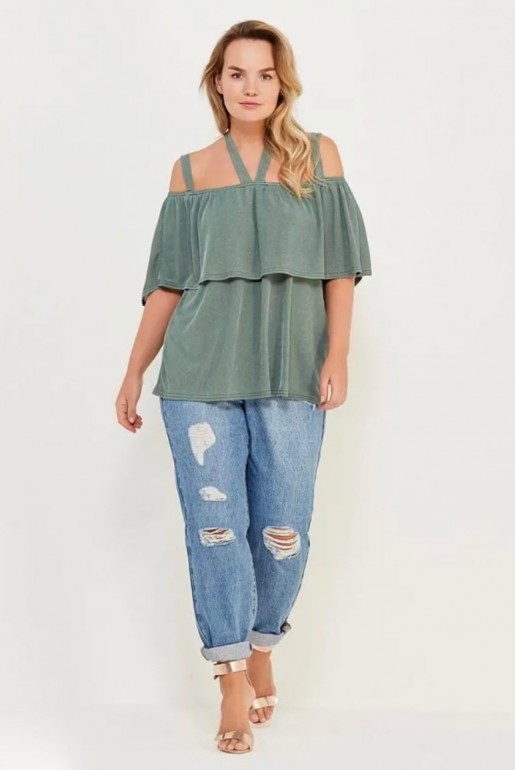 TOP IN RIB WITH COLD SHOULDER