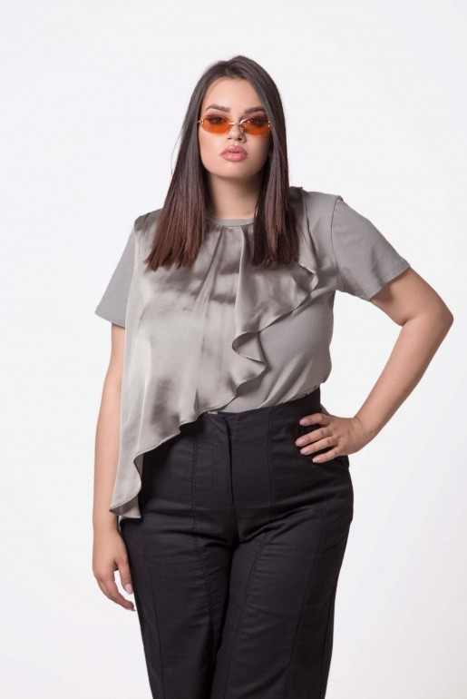 T-SHIRT WITH SATIN FRILL