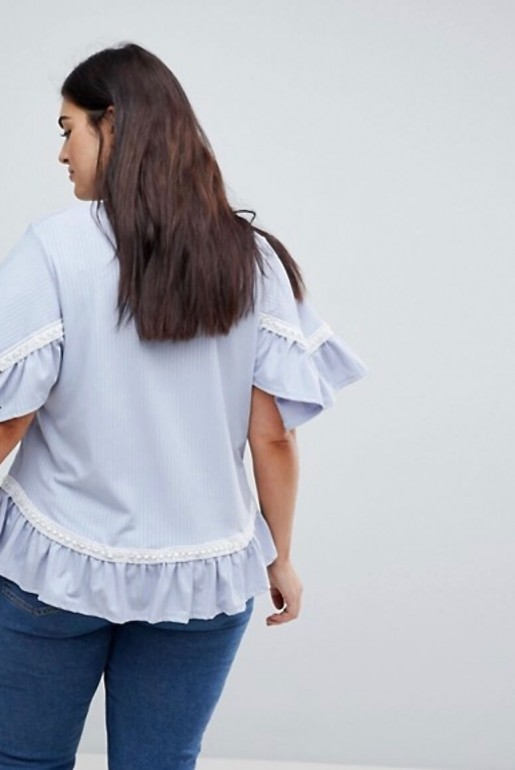 SMOCK TOP IN RIB WITH LACE TRIM