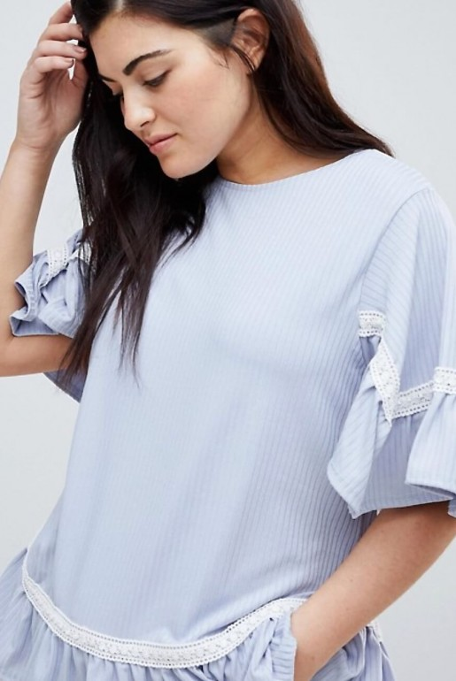 SMOCK TOP IN RIB WITH LACE TRIM - Image 3