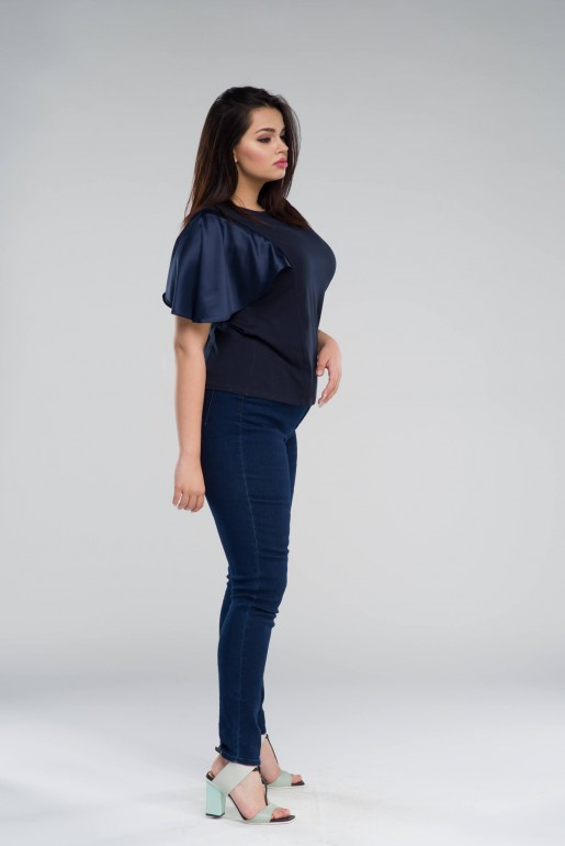 T-SHIRT WITH SATIN SLEEVES - Image 3