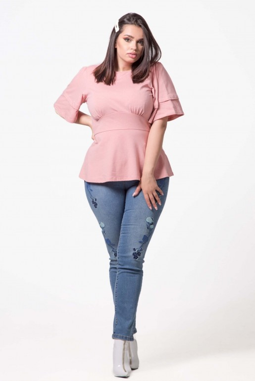 TOP WITH DOUBLE FRILL SLEEVES