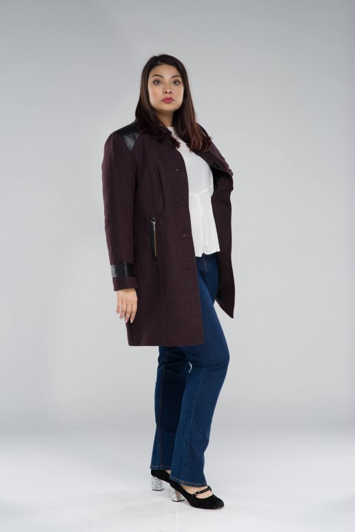 WOOL COAT MARTYNA IN WINE - Image 3