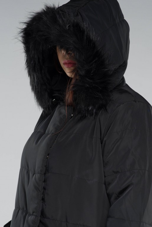 PADDED COAT WITH FAUX FUR HOOD