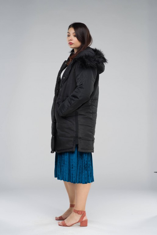 PADDED COAT WITH FAUX FUR HOOD - Image 4