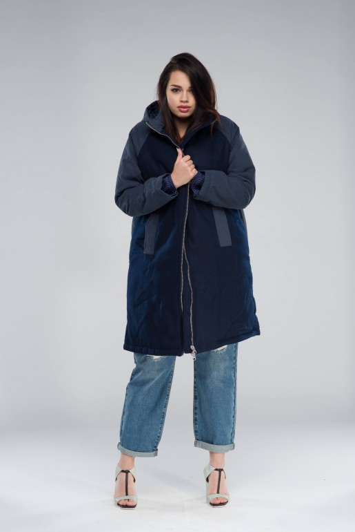 PADDED COAT IN FABRIC MIX