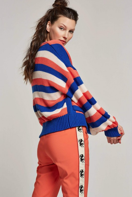 MULTI COLOURED STRIPED CROPPED CARDIGAN