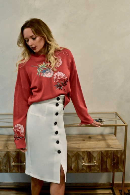 FLORAL EMBROIDED CO-ORD JUMPER