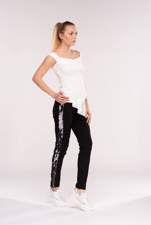 SEQUIN PANEL SKINNY TWILL TROUSERS