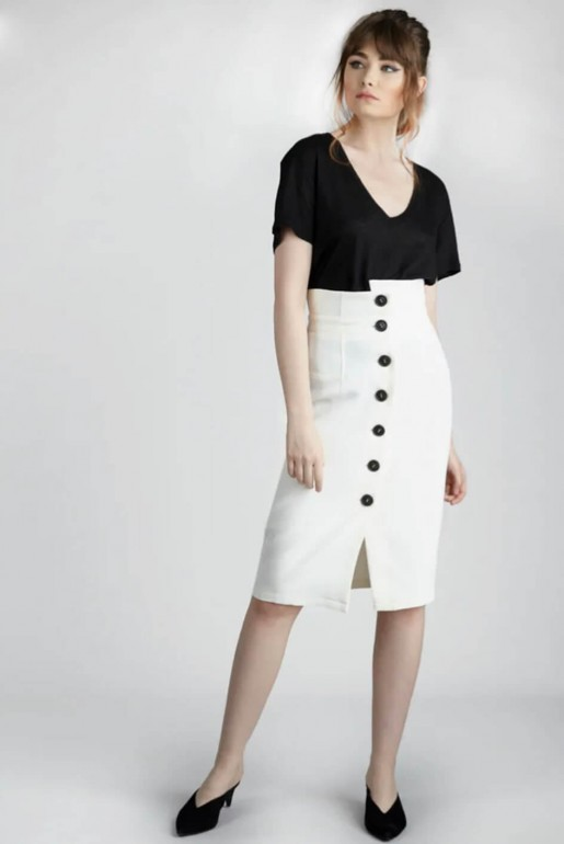 PENCIL SKIRT WITH CONRAST BUTTONS