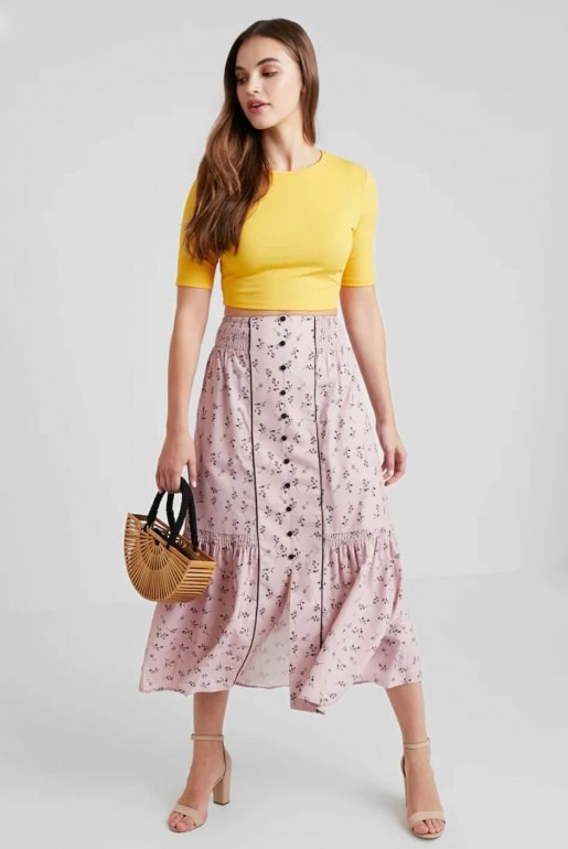PENCIL SKIRT IN PRINT WITH BUTTON DETAIL