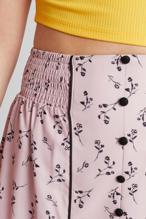 PENCIL SKIRT IN PRINT WITH BUTTON DETAIL - Image 4