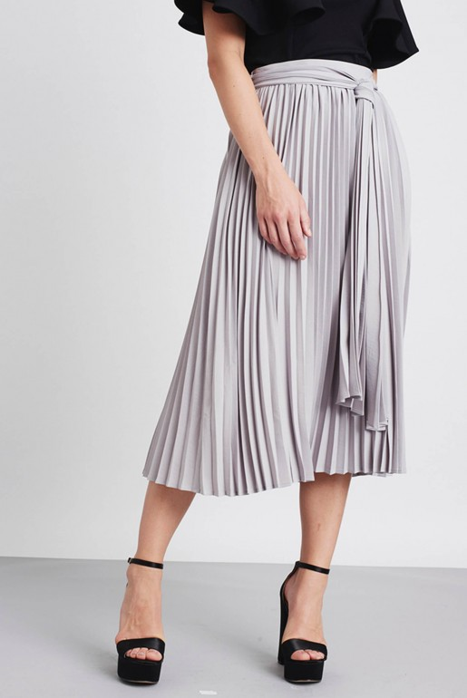 PLEATED TIE WAIST SKIRT