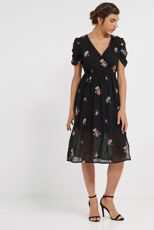 MIDI DRESS WITH FLORAL EMBROIDERY
