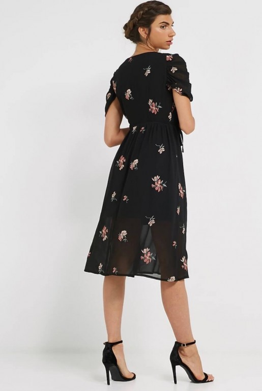 MIDI DRESS WITH FLORAL EMBROIDERY - Image 4