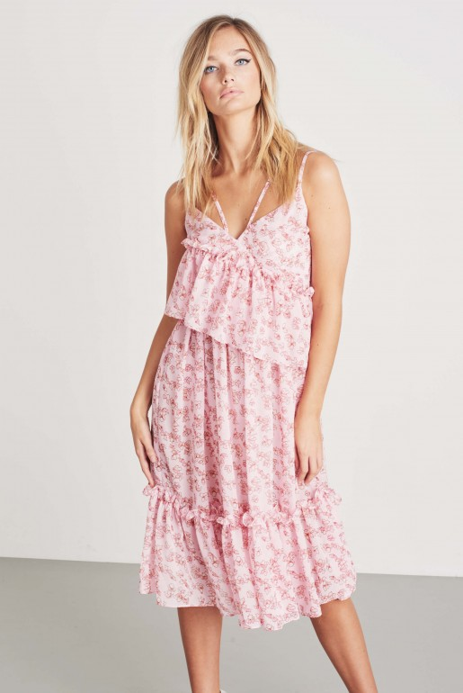 FLORAL ASSYMETRIC MIDI DRESS