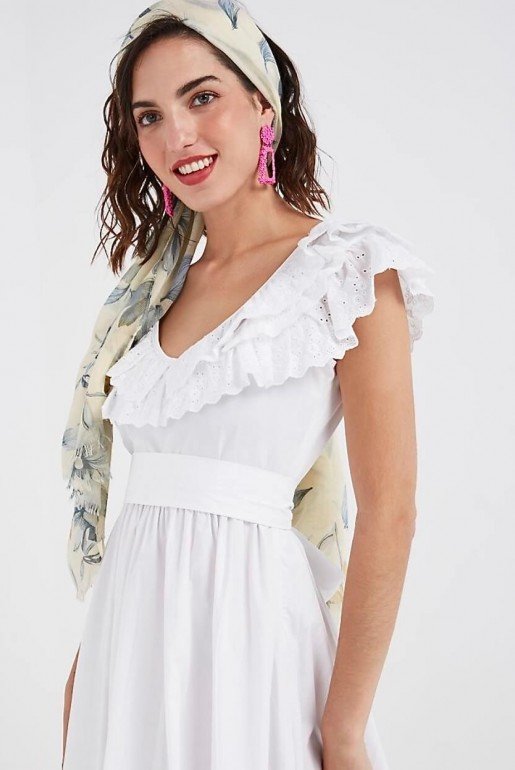 BRODERIE FIT AND FLARE WHITE DRESS