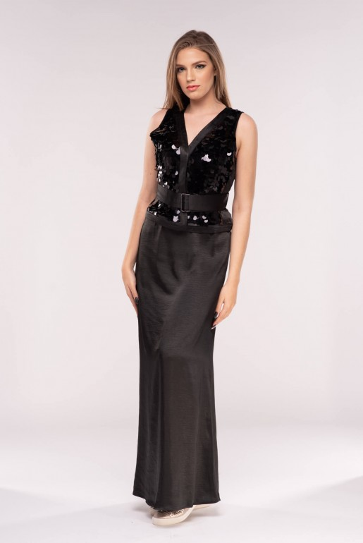 LARGE SEQUIN BELTED MAXI DRESS