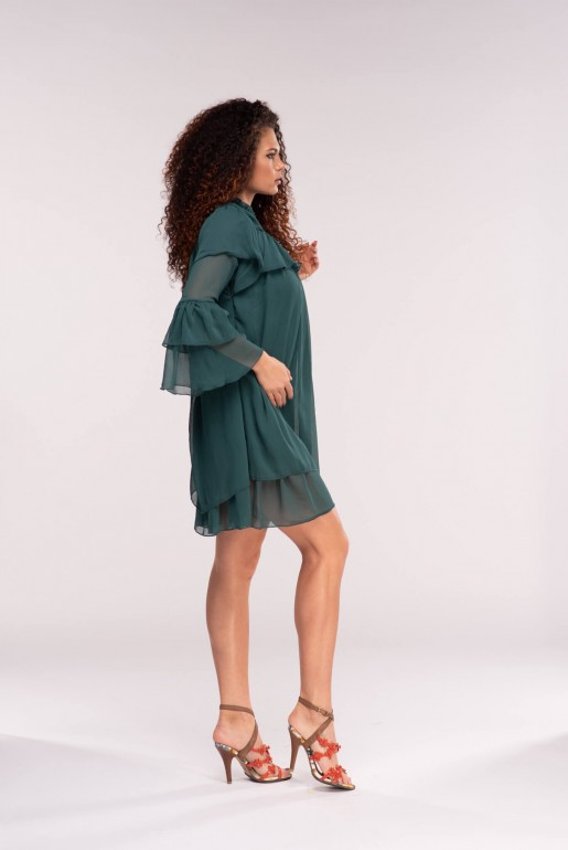 FLOATY RUFFLE TIERED SHIFT DRESS