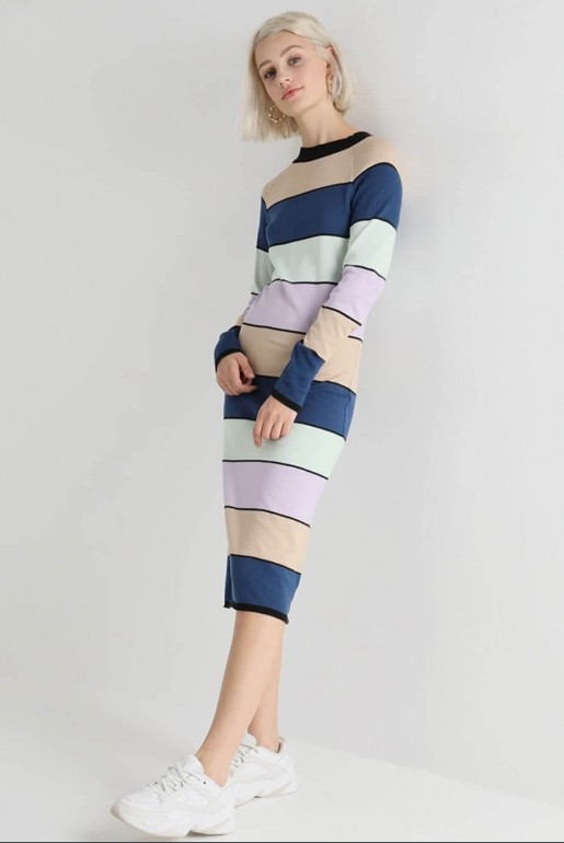STRIPE COLUMN KNITTED DRESS
