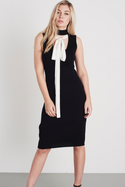 TIE NECK SLEEVLESS BODYCON DRESS