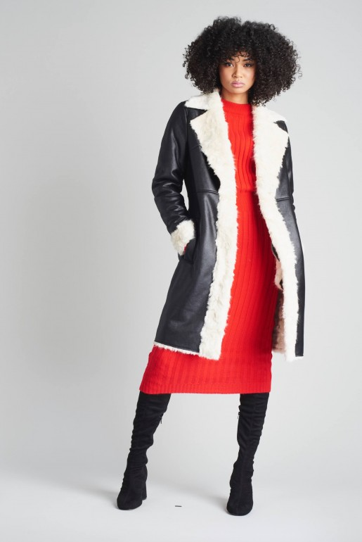 LONGLINE FAUX SHEARLING COAT