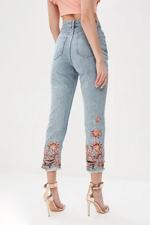 HIGH WAIST STRAIGHT W FLORAL PRINT HEM