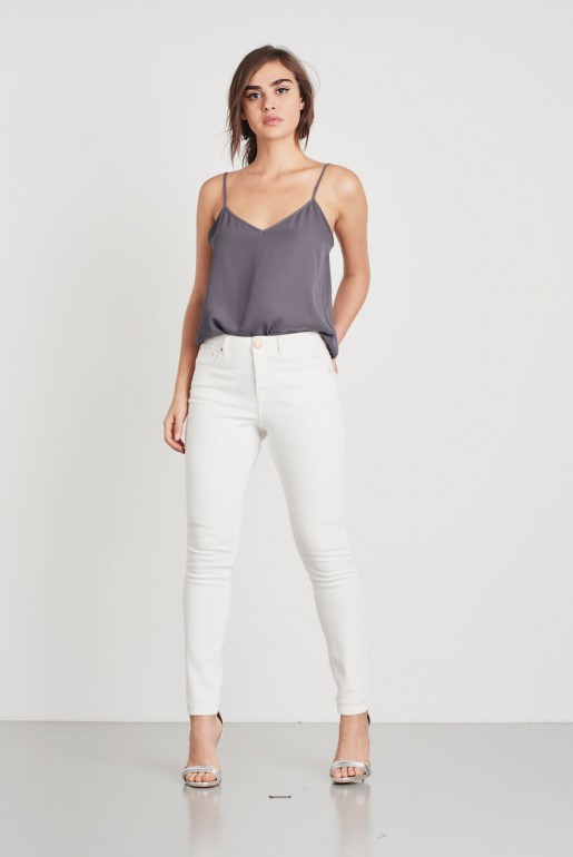 MID RISE SKINNY IN WHITE ROSE