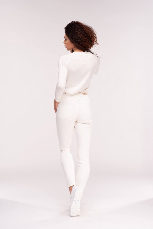 MID RISE SKINNY IN WHITE ROSE - Image 4