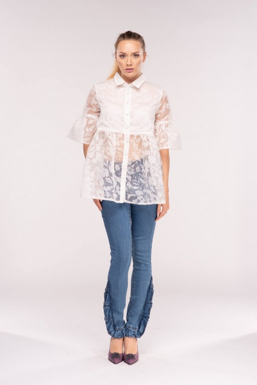 MID RISE SKINNY WITH BORDER FRILL HEM Description - Image 4