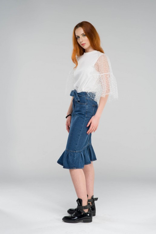 RUFFLE HEM DENIM PENCIL SKIRT - Image 3