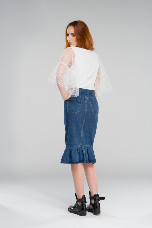 RUFFLE HEM DENIM PENCIL SKIRT - Image 4