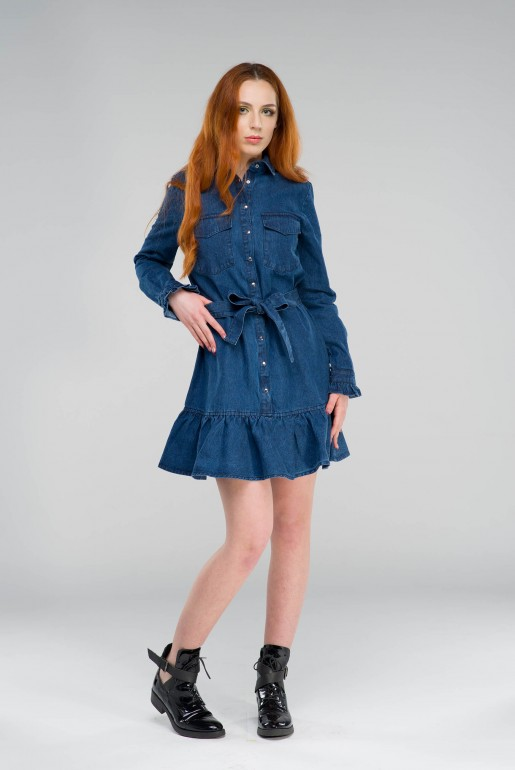 DENIM SHIRT DRESS WITH FRILL HEM