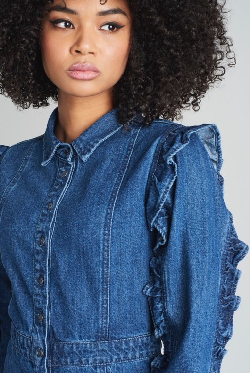 DENIM SHIRT DRESS WITH FRILL SLEEVE