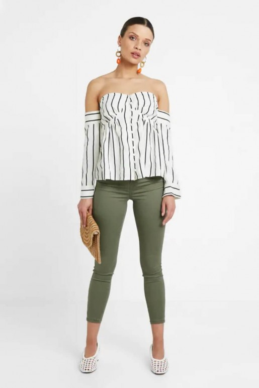 BARDOT TOP IN STRIPED LINEN - Image 2