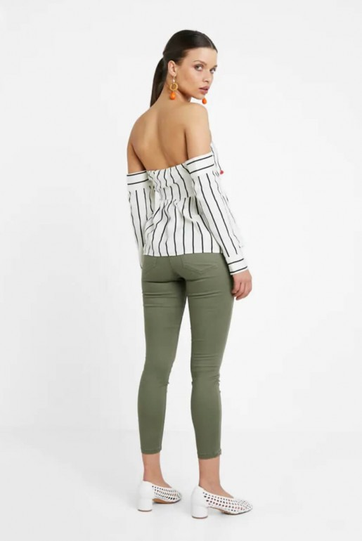 BARDOT TOP IN STRIPED LINEN - Image 3