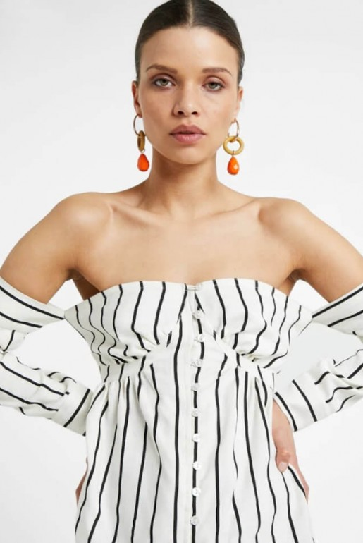 BARDOT TOP IN STRIPED LINEN - Image 4