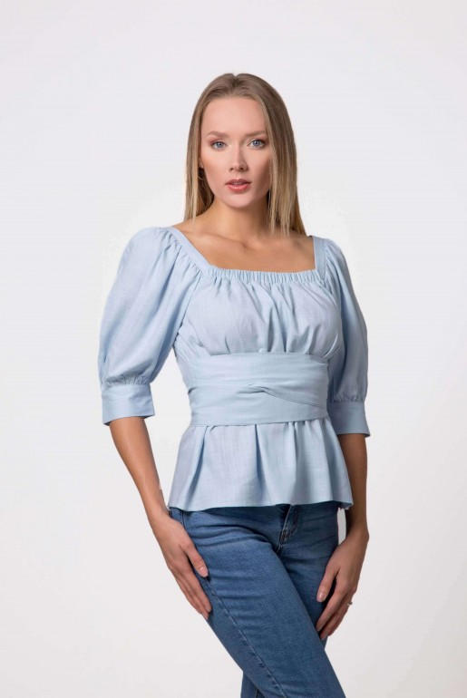 BLOUSE IN LINEN WITH TIE DETAIL