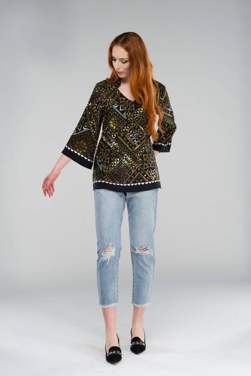 Tunic in geometric print - Image 1