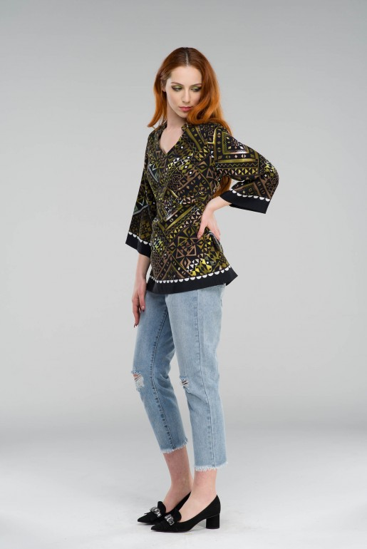 Tunic in geometric print