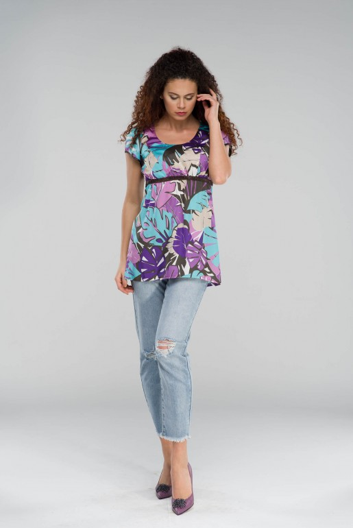 Tunic in purple with floral print