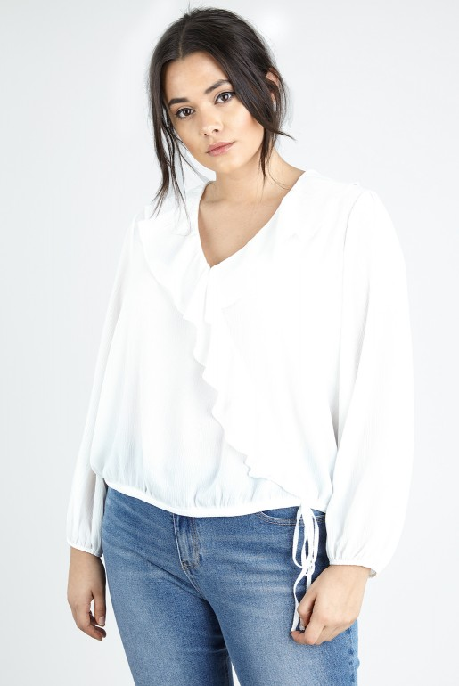 WRAP BLOUSE IN SELF STRIPE