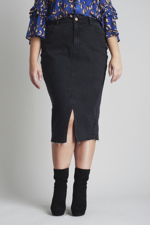 DENIM PENCIL SKIRT IN WASHED BLACK